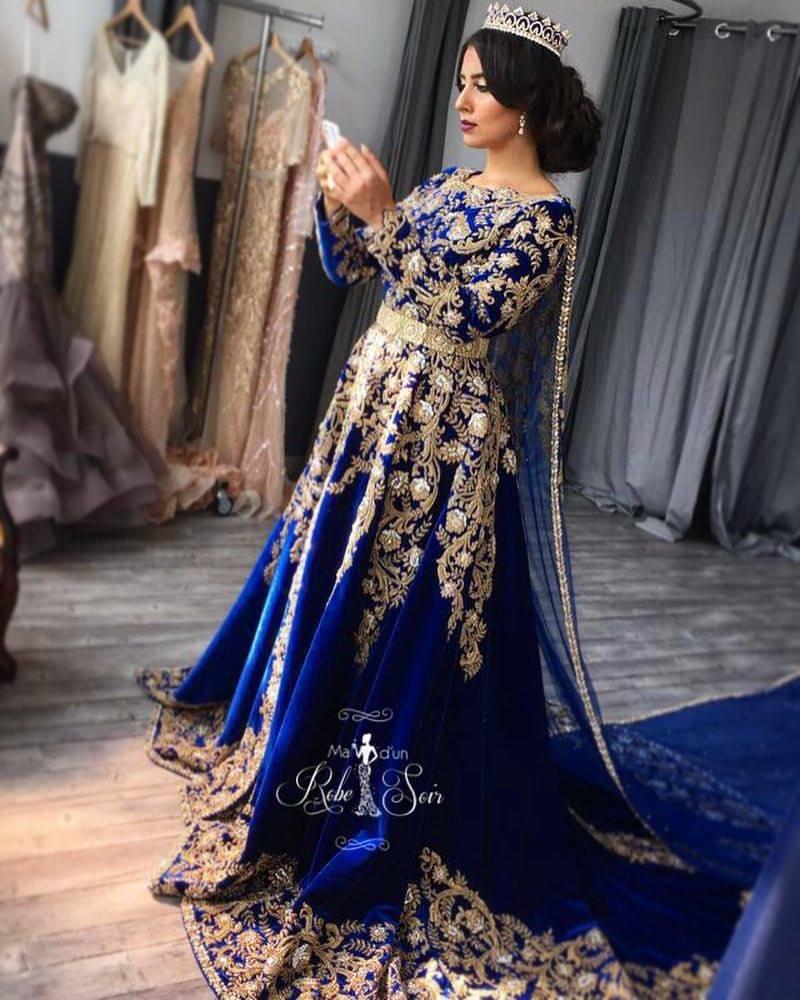 Caftan Velour Bleu Royal « Ma robe d un soir 8f5035bd42c